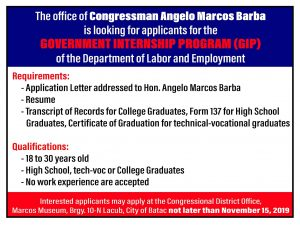Government Internship Program (GIP) – District Office of Cong. Angelo Marcos Barba