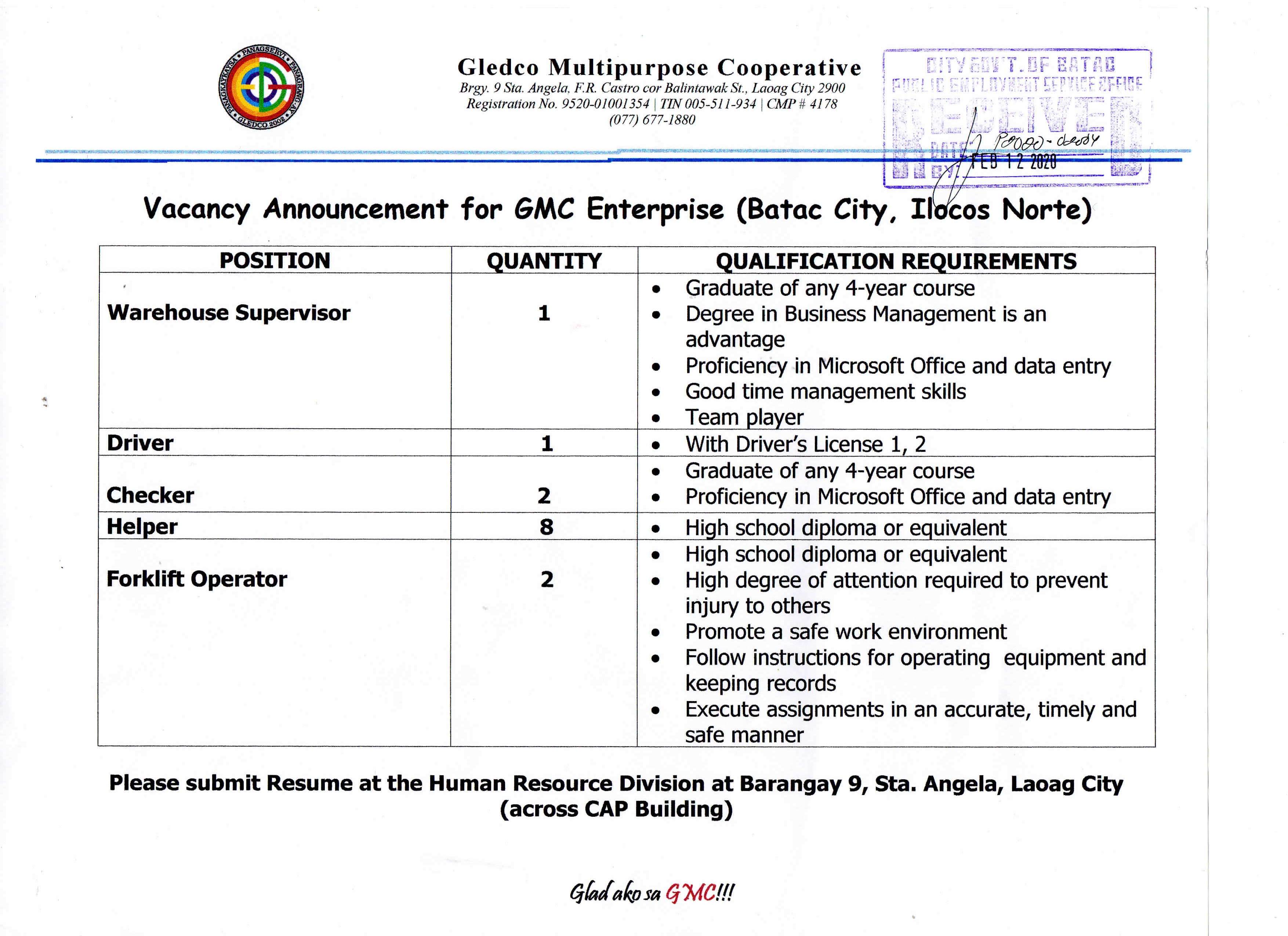 Vacancy Announcement for GMC Enterprise