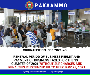 Business Permit and Payment of Business Taxes Extended